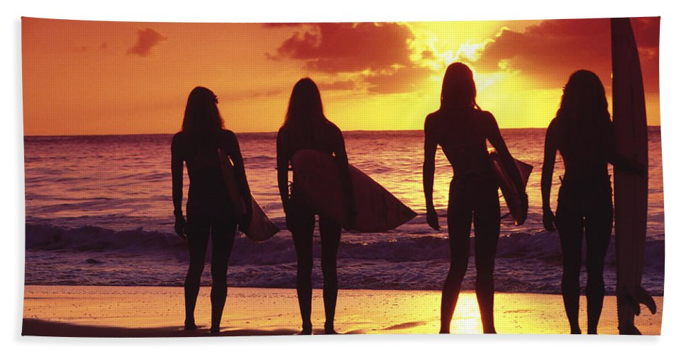 Surfer Hand Towel featuring the photograph Surfer Girl Silhouettes by Sean Davey
