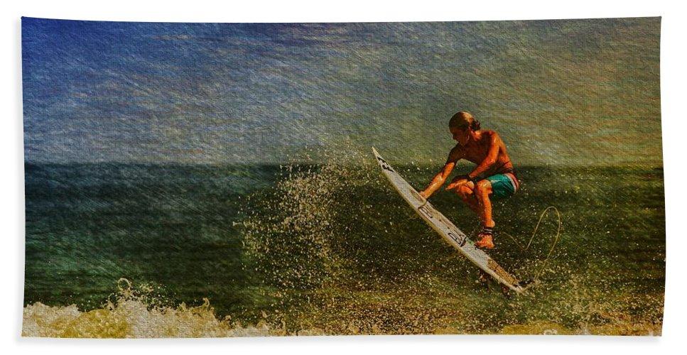 Surfer Bath Sheet featuring the photograph Surfer In Oil by Deborah Benoit