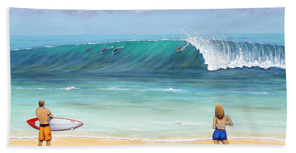 Hawaii Bath Sheet featuring the painting Surfing Hawaii by Jerome Stumphauzer