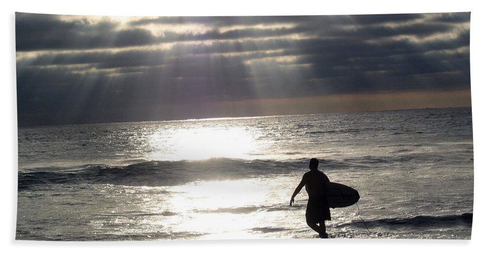 Surfer Hand Towel featuring the photograph The Surfer by Mara Lee