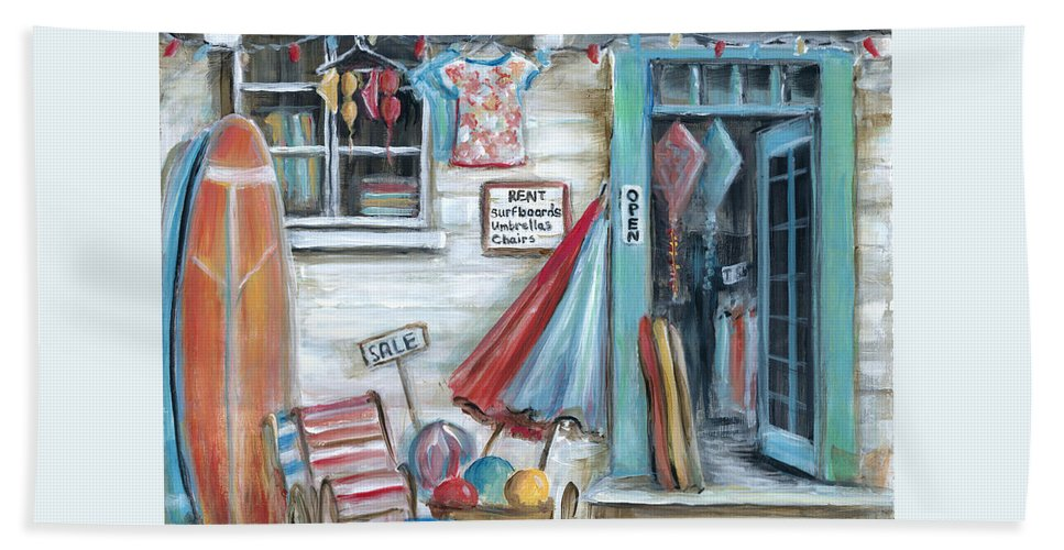Surfing Bath Towel featuring the painting Surfs Up Beach Shop by Marilyn Dunlap