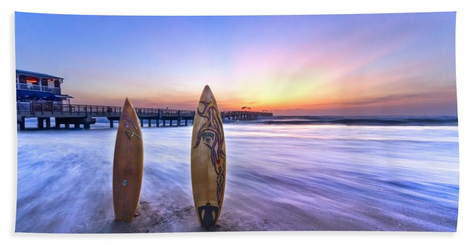 Benny's Hand Towel featuring the photograph Surf's Up by Debra and Dave Vanderlaan