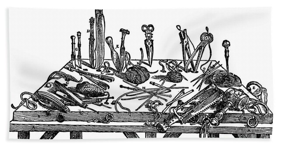1567 Bath Sheet featuring the photograph Surgical Instruments, 1567 by Granger
