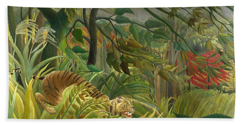 Henri Rousseau Hand Towel featuring the painting Surprised by Henri Rousseau