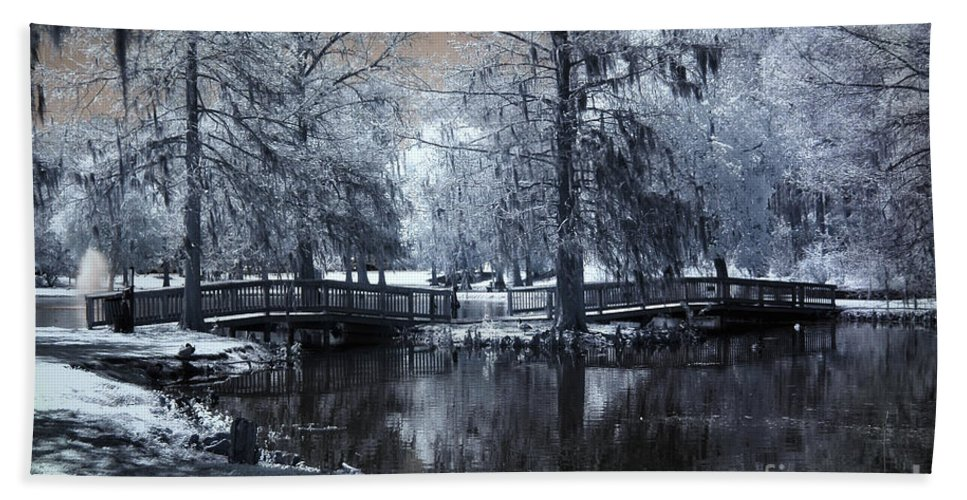 Infrared Bath Sheet featuring the photograph Surreal Dreamy Fantasy Nature Infrared Landscape - Edisto Park South Carolina by Kathy Fornal