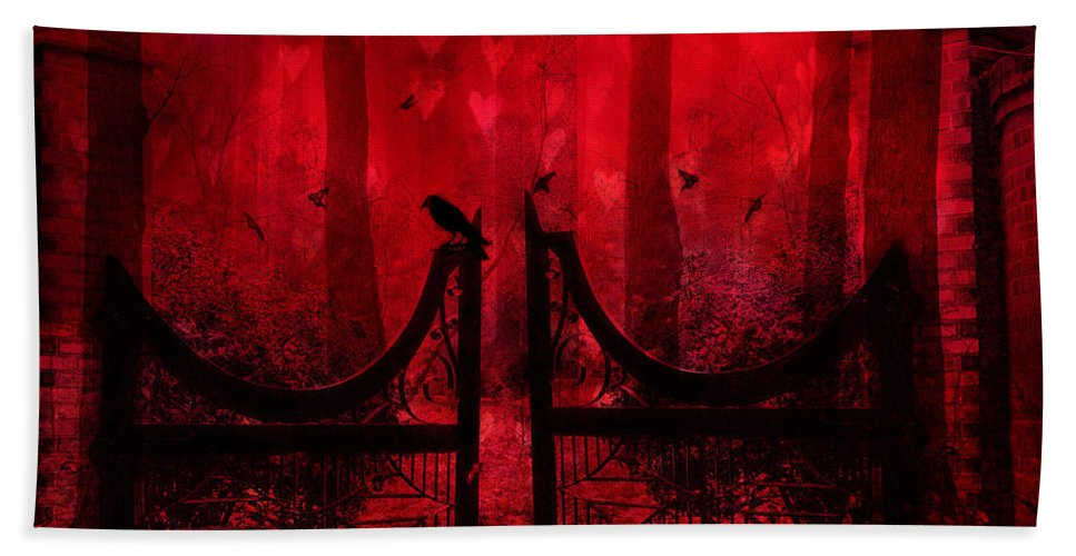 Raven Crow Art Hand Towel featuring the photograph Surreal Fantasy Gothic Red Forest Crow On Gate by Kathy Fornal