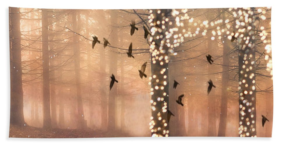 Surreal Nature Photos Hand Towel featuring the photograph Surreal Fantasy Nature Trees Woodlands Forest Sparkling Lights Birds And Trees Nature Landscape by Kathy Fornal