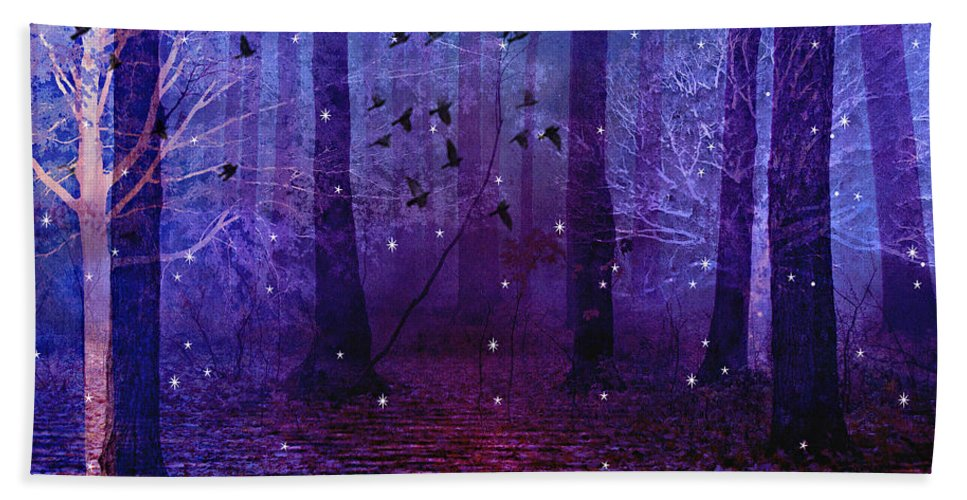 Purple Surreal Nature Bath Sheet featuring the photograph Surreal Fantasy Starry Night Purple Woodlands - Purple Blue Fantasy Nature Fairy Lights by Kathy Fornal