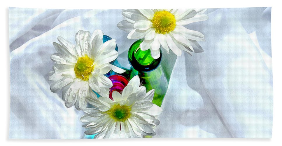 Daisies Bath Sheet featuring the photograph Surrounded In Love by Krissy Katsimbras