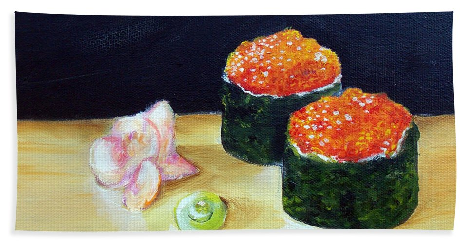 Sushi Bath Sheet featuring the painting Sushi 6 by To-Tam Gerwe