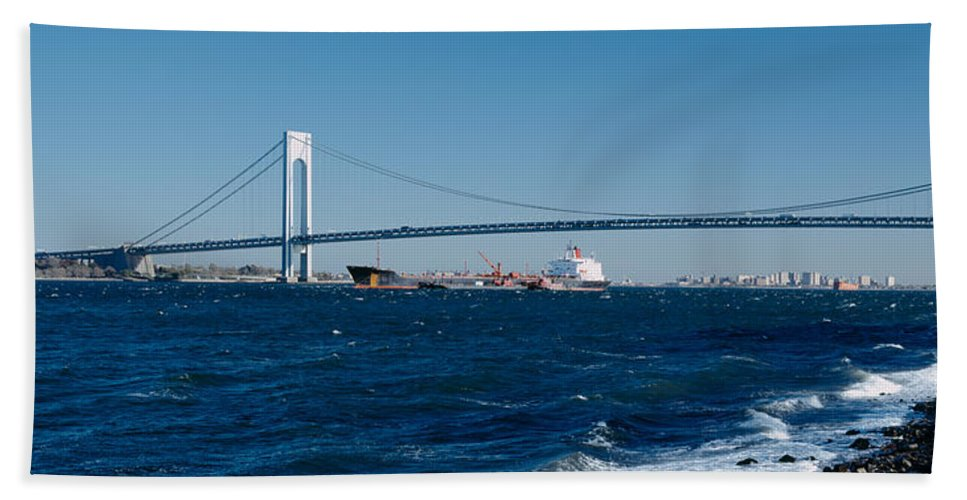 Photography Hand Towel featuring the photograph Suspension Bridge Over A Bay by Panoramic Images