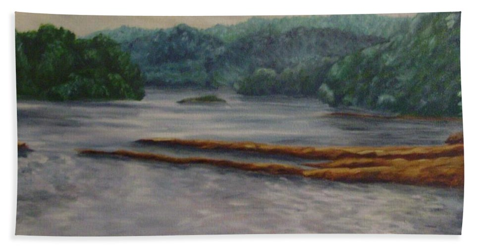 Landscape Hand Towel featuring the painting Susquehanna River At Saginaw Pa by Joann Renner