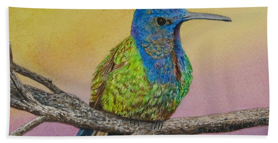 Hummingbird Bath Towel featuring the painting Swallow-tailed Hummingbird by Sharon Farber