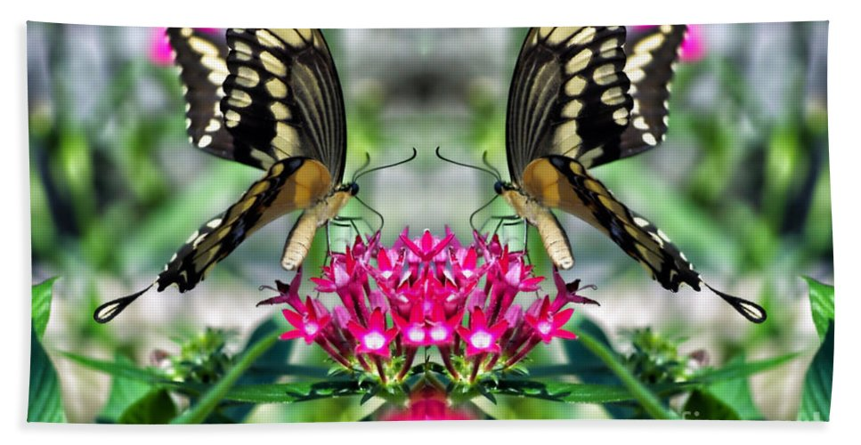 Butterfly Hand Towel featuring the photograph Swallowtail Butterfly Digital Art by Thomas Woolworth