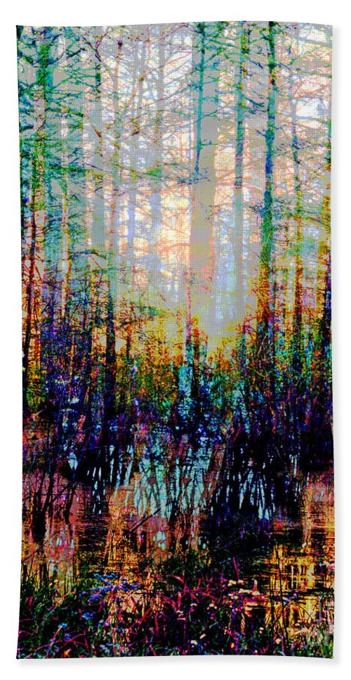 Swamp Hand Towel featuring the digital art Swamp Colorfest by Lizi Beard-Ward