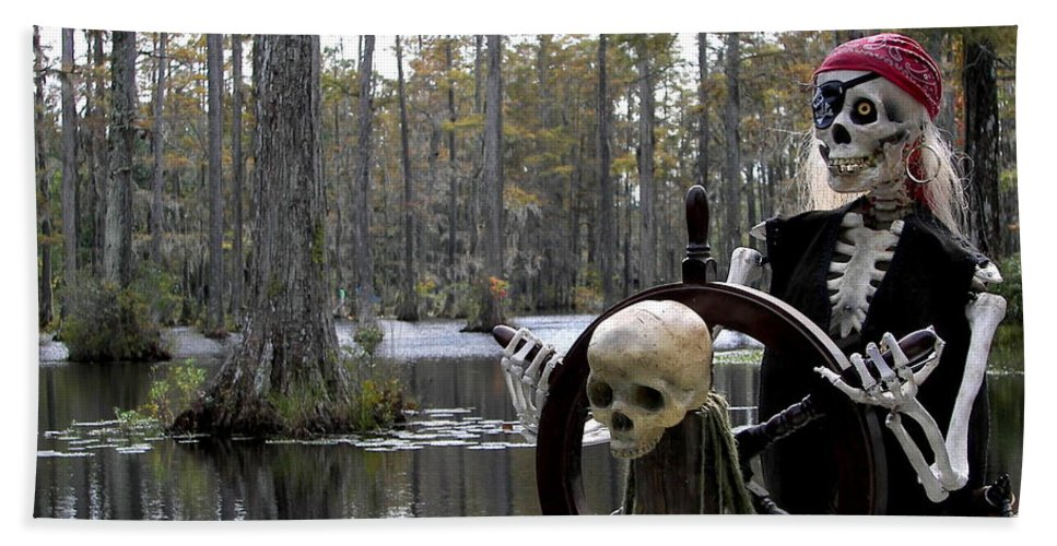 Pirates Hand Towel featuring the photograph Swamp Pirate by Karen Wiles