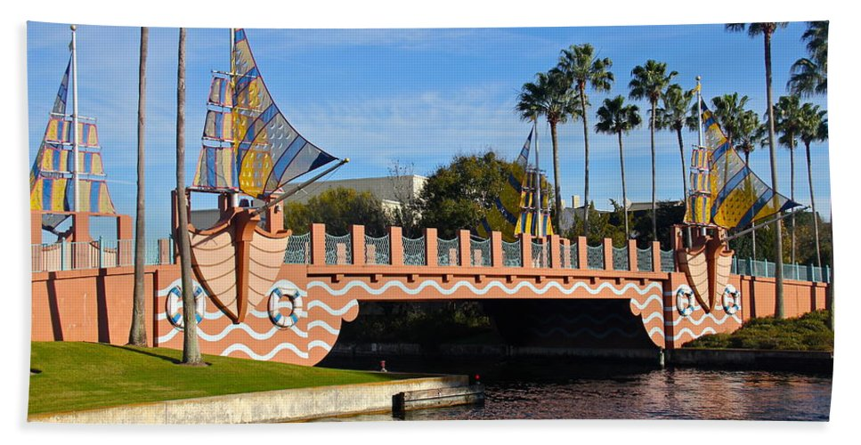 Bridge Bath Sheet featuring the photograph Swan And Dolphin Resort Bridge by Denise Mazzocco
