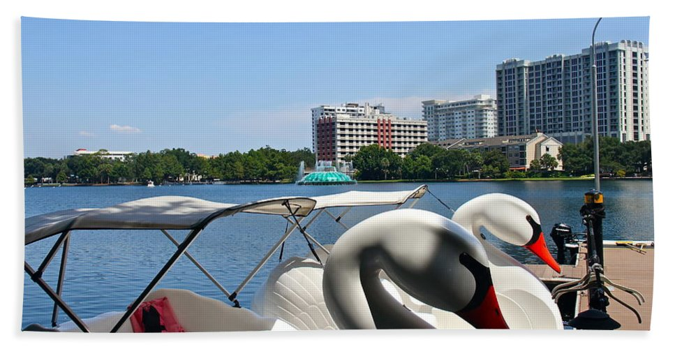 Swan Hand Towel featuring the photograph Swan Boats And Buildings by Denise Mazzocco