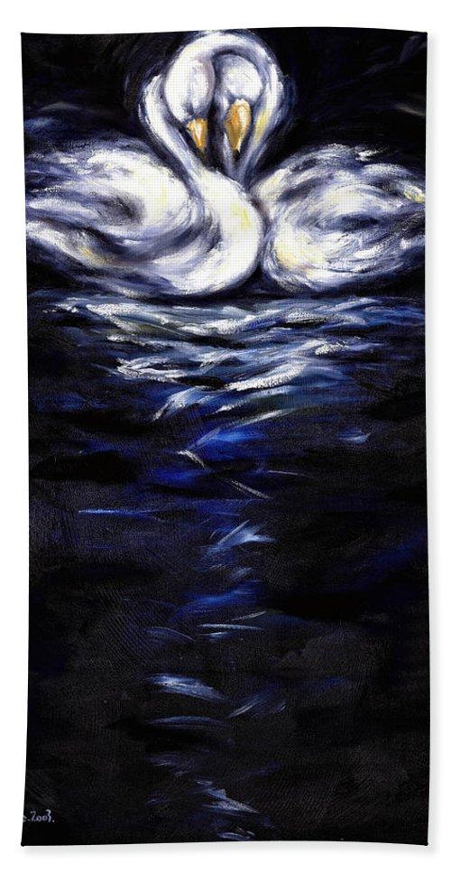 Bird Bath Sheet featuring the painting Swan by Hiroko Sakai
