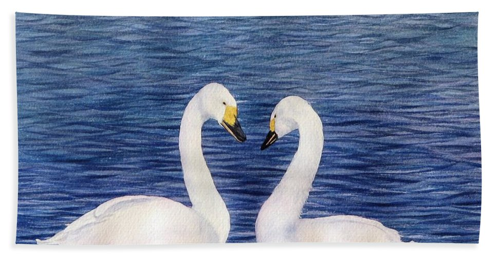 Swans Hand Towel featuring the painting Swan Love by Sharon Farber