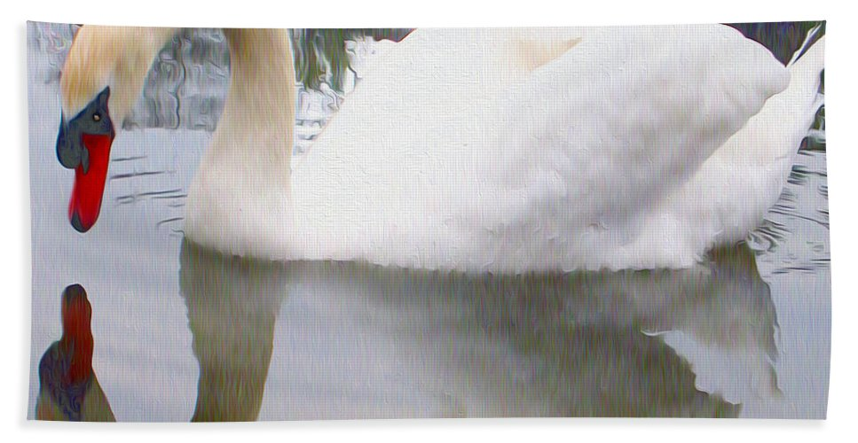 Swans Hand Towel featuring the photograph Swan Reflection by Nina Silver