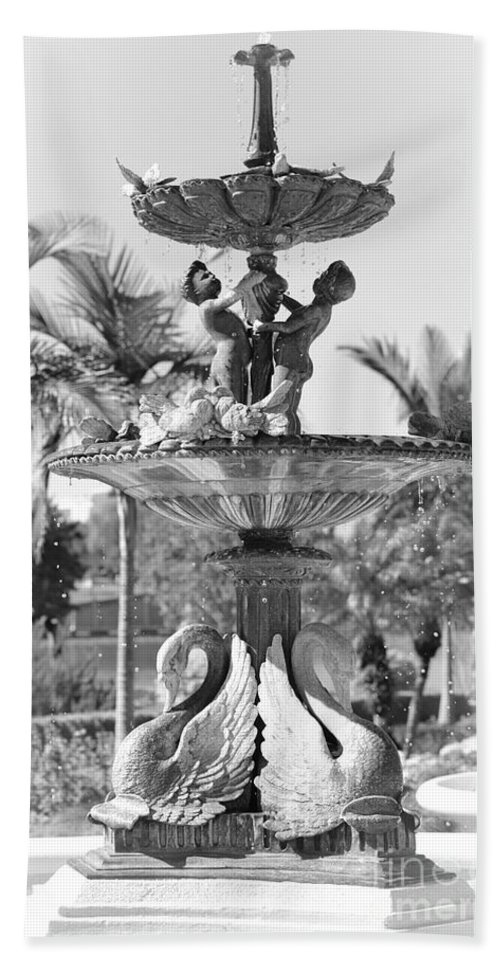 Lakeland Hand Towel featuring the photograph Swan Statue - Black And White With Vignette by Carol Groenen