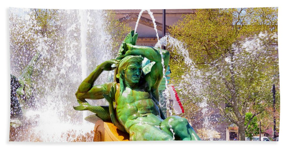 Span Bath Sheet featuring the photograph Swann Fountain Gods by Art Dingo