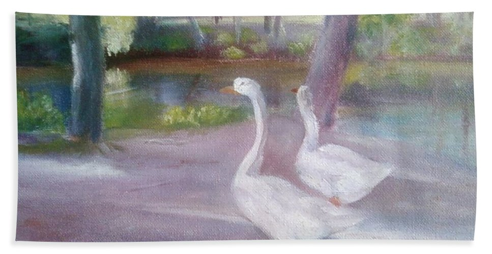 Swans Hand Towel featuring the painting Swans At Smithville Park by Sheila Mashaw