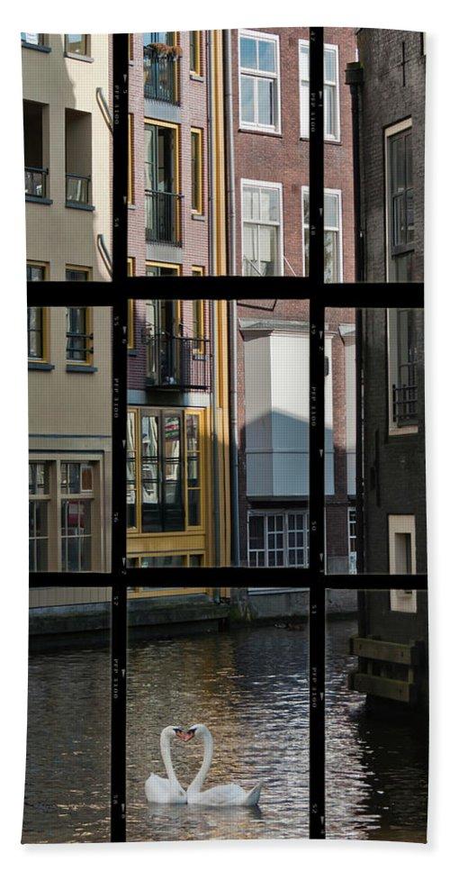 Joan Carroll Bath Sheet featuring the photograph Swans Love Amsterdam by Joan Carroll
