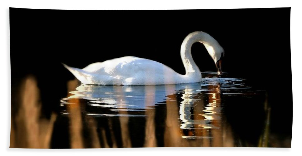 Bird Hand Towel featuring the photograph Swan River by Diana Angstadt