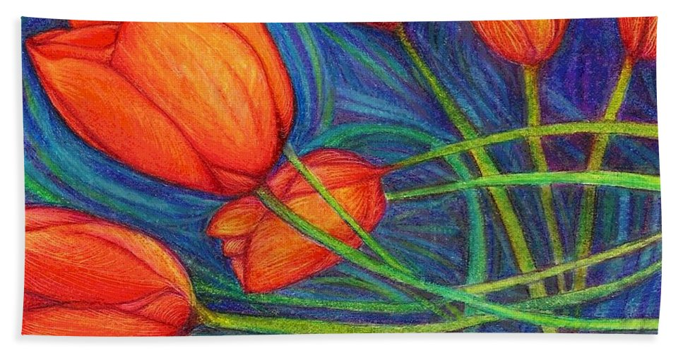 Tulips Hand Towel featuring the digital art Sway by Mary Eichert