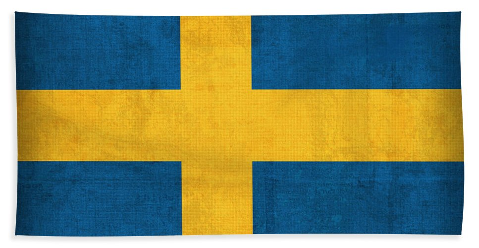 Sweden Flag Vintage Distressed Finish Bath Towel featuring the mixed media Sweden Flag Vintage Distressed Finish by Design Turnpike