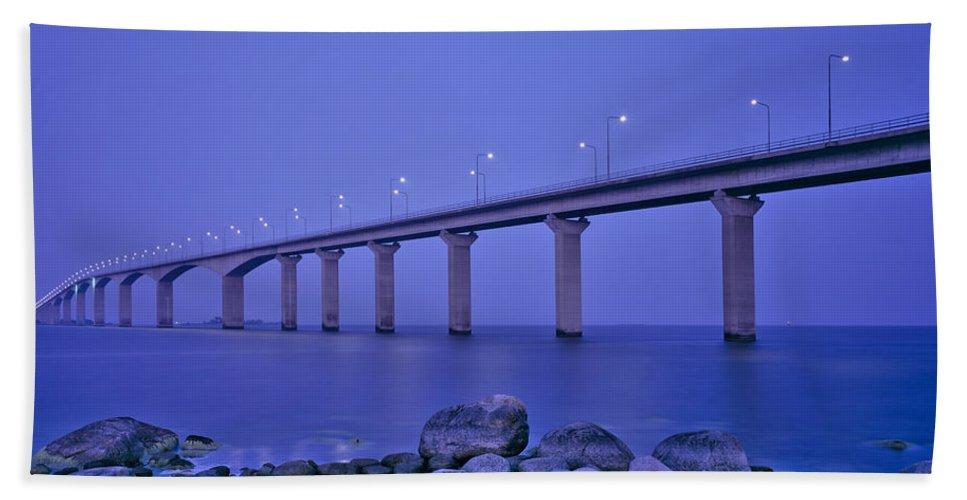 Photography Bath Sheet featuring the photograph Sweden, The Bridge To The Island by Panoramic Images