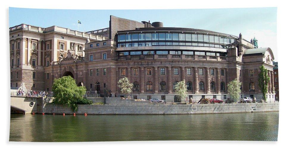 Stockholm Bath Sheet featuring the photograph Swedish Parliament 02 by Antony McAulay