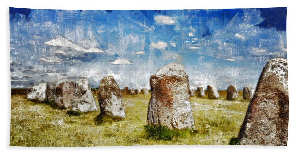 Standing Hand Towel featuring the digital art Swedish Standing Stones by Sophie McAulay