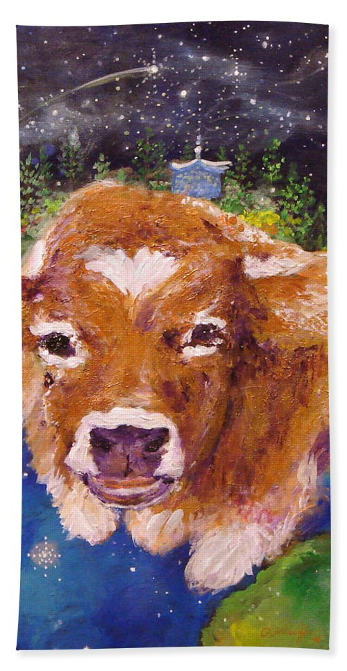 Cow Bath Sheet featuring the painting Sweet Buttercup by Ashleigh Dyan Bayer