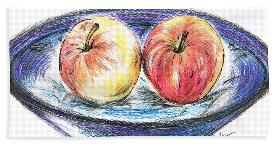 Teresa White Bath Sheet featuring the drawing Sweet Crunchy Apples by Teresa White