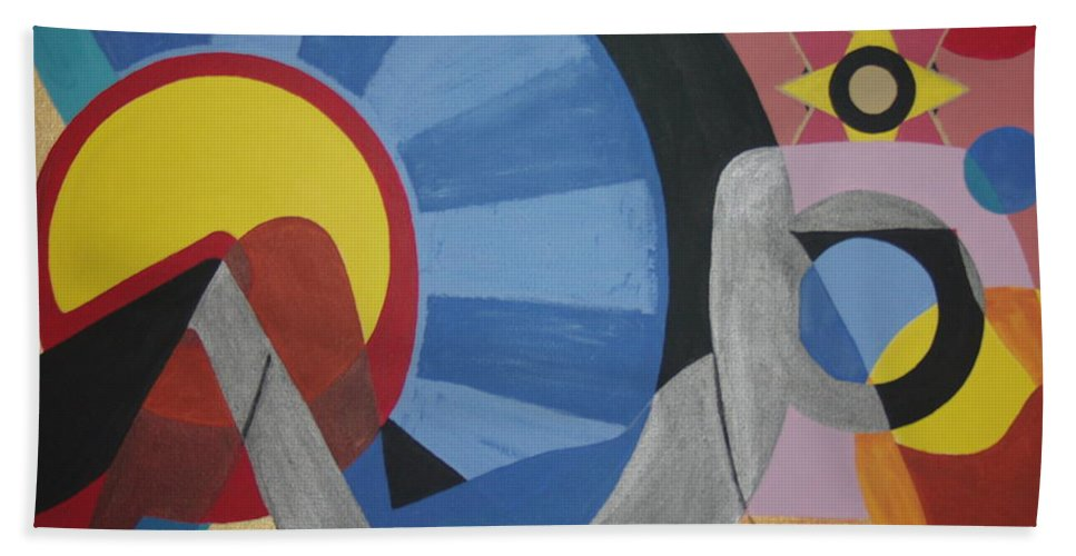 Abstract Bath Towel featuring the painting Sweet Dreams are made of these by Dean Stephens