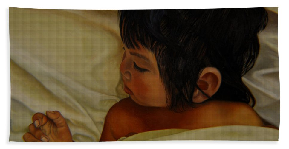 Portrait Bath Sheet featuring the painting Sweet Dreams by Thu Nguyen