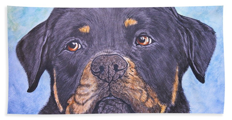 Rottweiler Hand Towel featuring the painting Rottweiler's Sweet Face by Megan Cohen