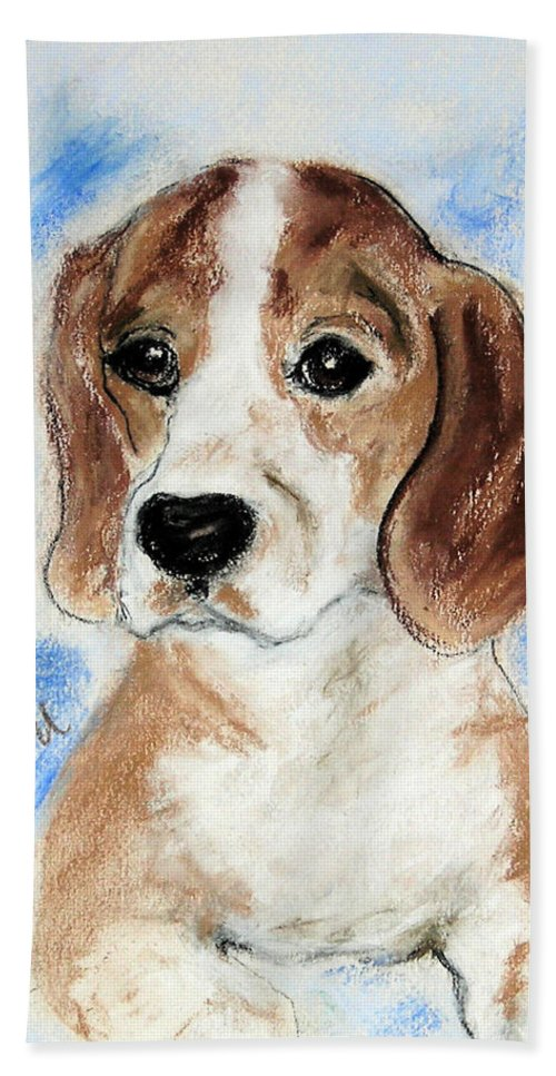 Dog Hand Towel featuring the drawing Sweet Innocence by Cori Solomon