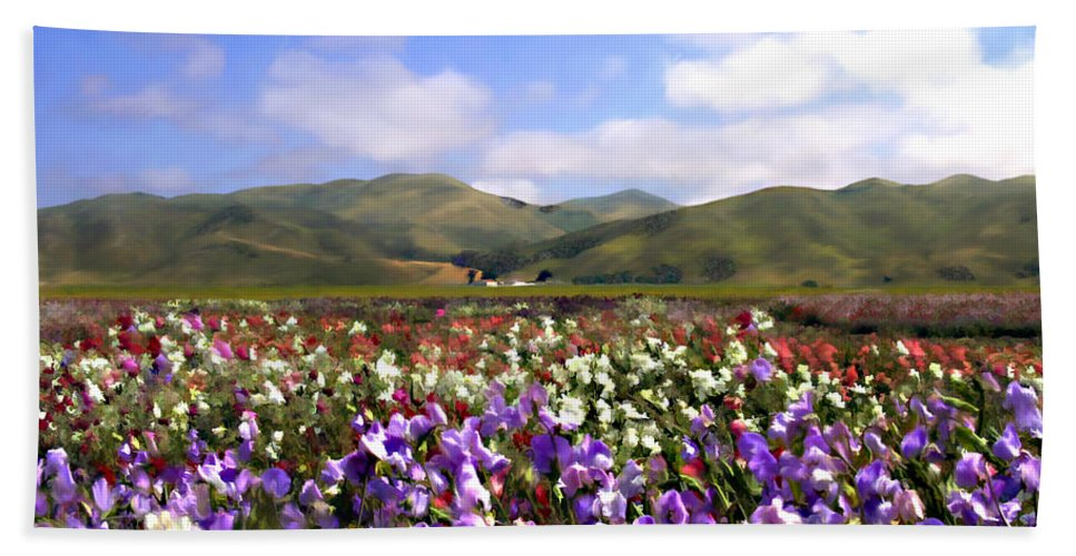 Flowers Bath Towel featuring the photograph Sweet Peas Galore by Kurt Van Wagner