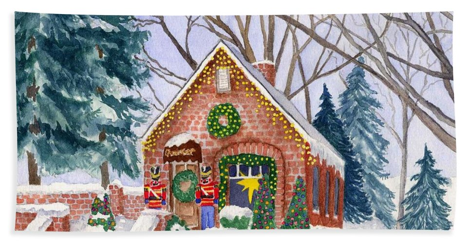 Winter Hand Towel featuring the painting Sweet Pierre's Chocolate Shop by Rhonda Leonard
