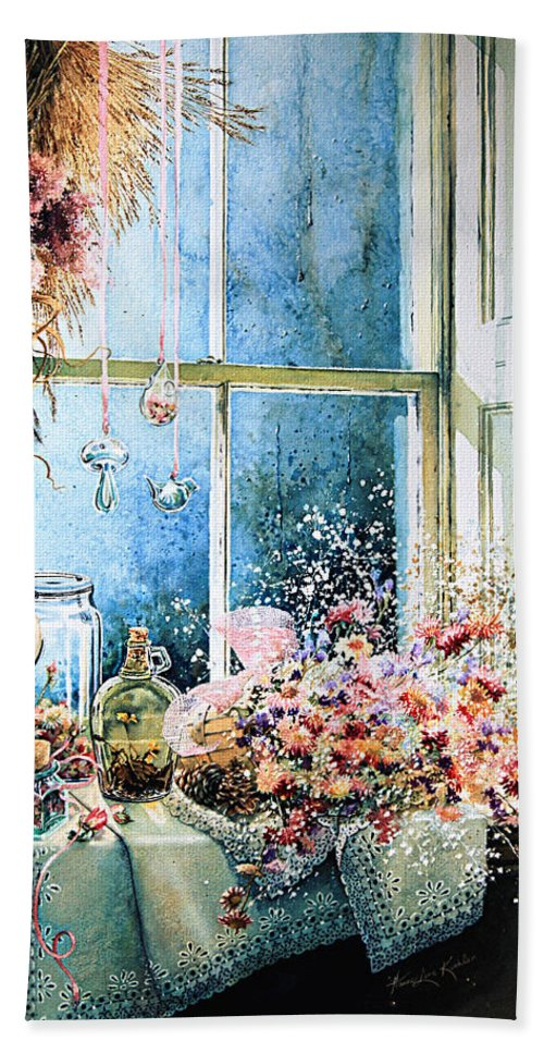 Window Bath Sheet featuring the painting Sweet Scents To Savor by Hanne Lore Koehler