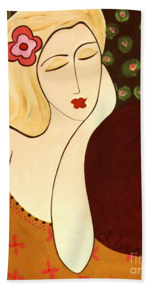 #female #figurative #floral Bath Towel featuring the painting Sweet Sixteen by Jacquelinemari