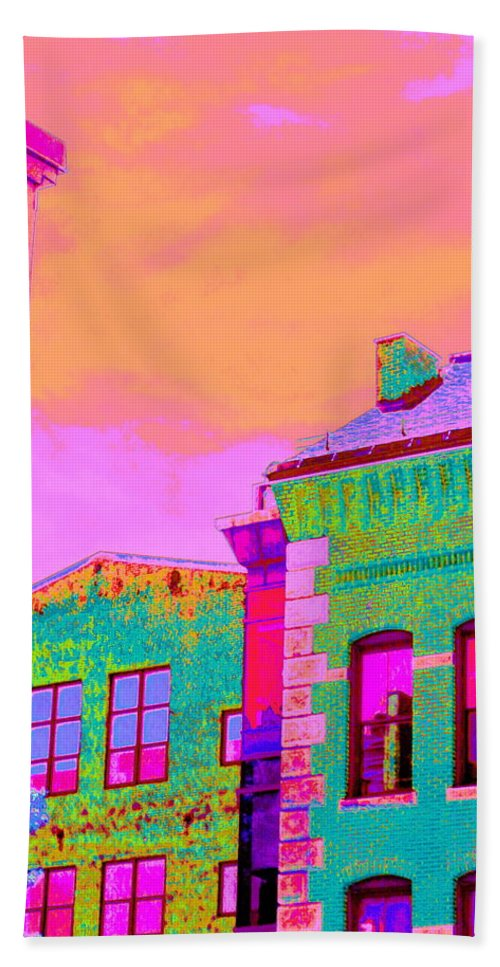 Neon Colors Sky And Buildings Digitally Manipulated Photograph Modern Contemporary  Bath Sheet featuring the digital art Sweet Street by Expressionistart studio Priscilla Batzell