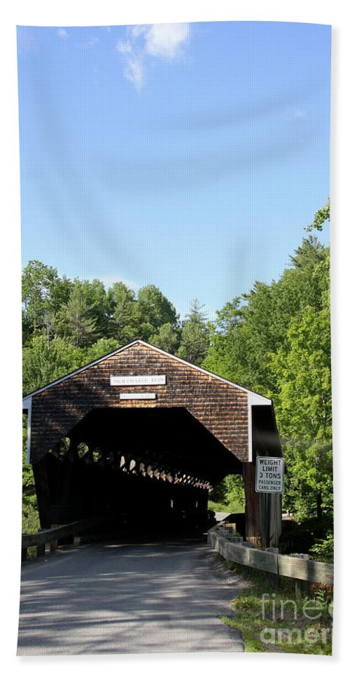 Swiftwater Hand Towel featuring the photograph Swiftwater Historic Bridge by Christiane Schulze Art And Photography