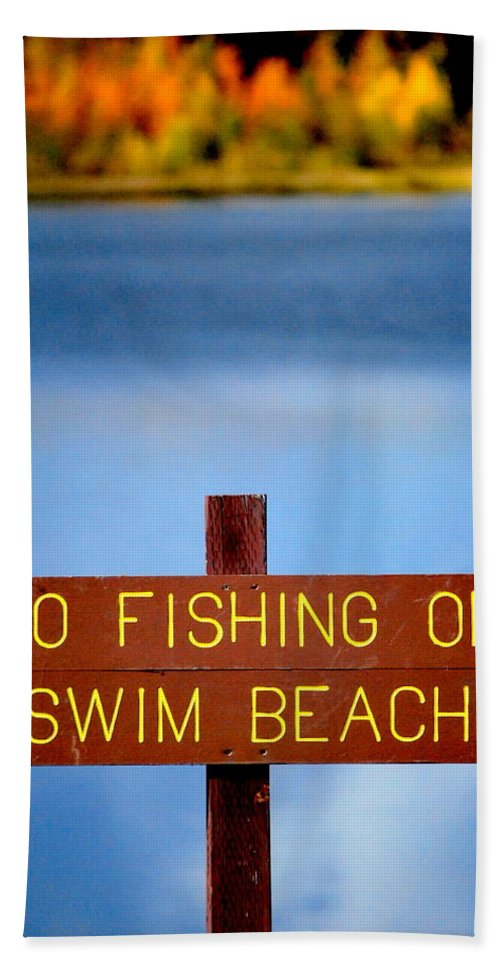 Lake Hand Towel featuring the photograph Swim Beach Sign L by Kathy Sampson