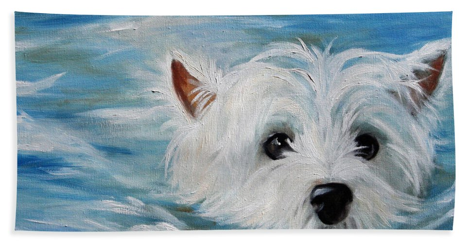 Westie Hand Towel featuring the painting Swimmer by Mary Sparrow