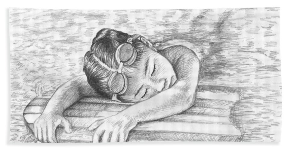 Girl Hand Towel featuring the drawing Swimming Girl by Nicole Zeug